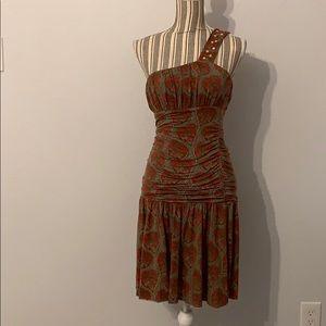 Free People One Shoulder Ruched Mini Dress | Sz L